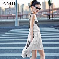 【AMII 超级品牌日】AMII[极简主义]夏松紧腰黑白笔刷印花不规则大码背心连衣裙11590298