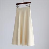 秋冬款高腰加厚大摆裙针织长半裙高品质半身裙毛线裙打底裙 均码