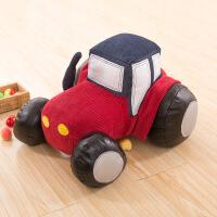 小汽车毛绒玩具卡通公仔 安抚玩偶抱枕 娃娃六一儿童节生日礼物男孩 毛绒玩具拖拉机车头 45厘米(收藏*品包装)