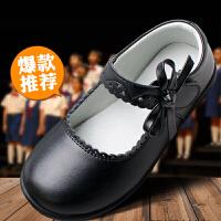 女童黑皮鞋演出表演软底大童小学生儿童鞋小黑色白公主鞋单鞋
