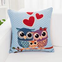 韩式可爱猫头鹰抱枕客厅沙发靠垫可拆洗床头靠背套不含芯飘窗靠枕 45*45cm 枕套(不含芯)