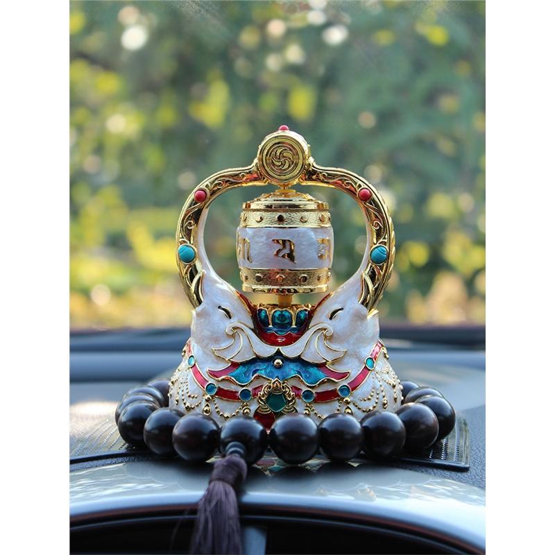 汽车内饰品摆件创意男女保平安漂亮中控台车载太阳能转经轮筒