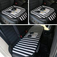 汽车坐垫四季通用单片三件套龙猫可爱座垫免绑防滑无靠背亚麻