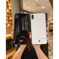 苹果x手机壳女款iPhone7plus钢化玻璃壳8plus创意个性挂绳xsmax硅胶软边简约爱心xr全包防摔情侣6spl