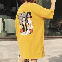 孕妇夏装上衣短袖T恤韩国时尚中长款大码怀孕期纯棉连衣裙秋季潮