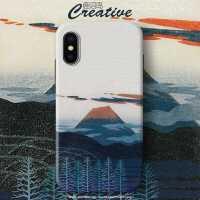 日系和风iphone8富士山11pro手机壳7plus硅胶XR全包防摔国潮XSMAX