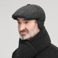 老人帽子男冬天中老年人爸爸爷爷帽秋冬季护耳加绒保暖毛呢鸭舌帽