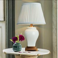美式陶瓷台灯创意 方块个性 后现代简约客厅灯具书房卧室床头台灯 绿折憬
