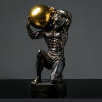欧式人物大力士雕塑摆件创意摆件现代简约家居样板房软装饰品摆设