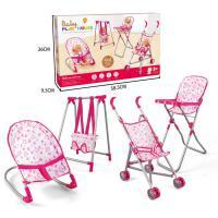 20181120152626752儿童四合一可折叠宝宝高脚餐椅玩具秋千座椅手推车睡床带娃娃