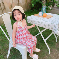 【2件2折价:52.9】纽豆女童格子夏装吊带套装宝宝九分束脚裤儿童网红两件套