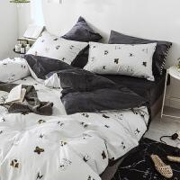 四件套冬季珊瑚绒全棉法兰绒欧式简约法莱绒床单被套女床上三件套定制 2.0m(6.6 英尺)床