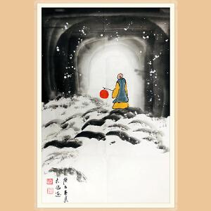 中国美术协会会员,中国青年美术家协会理事 吴大恺(雪景5)ZH441