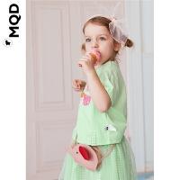 【2件3折:189】MQD女小童短袖网纱套装2020夏季新款苹果绿立体图案网格两件套潮