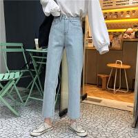 三木子快时尚女装~直筒牛仔裤宽松韩版学生高腰显瘦九分裤