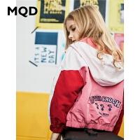 MQD童装女童连帽外套2020春装新款儿童卡通绣花洋气拼接外套女